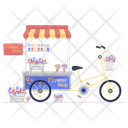Flower Shop Floral Cart Flower Stall Icon