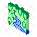 Flowing River Among Forest Icon