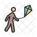 Flying Kite Human Icon