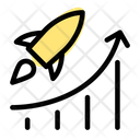 Flying Rocket And Chart Startup Growth Growth Chart Icon