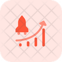 Flying Space Shuttle And Chart Startup Growth Growth Chart Icon