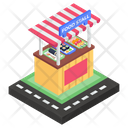 Street Stall Food Stand Vending Cart Icon