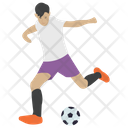 Football Man Playing Ball Game Icon