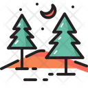 Camping Tree Moon Icon