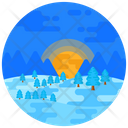 Trees Sunrise Forest Icon