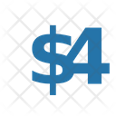 Four Dollar Numbers Dollar Icon