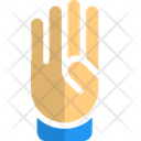 Four Finger Hand Sign High Five Icon
