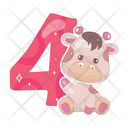 Four Cartoon Number Icon