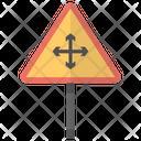 Four Way Caution Traffic Icon