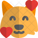 Fox Smiling With Hearts Animal Wildlife Icon