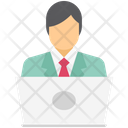 Online Business Boss Man With Laptop Icon