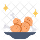 Fried Chicken On Dish Fried Chicken Chicken Icon