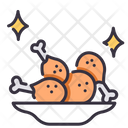 Fried chicken on dish Icon