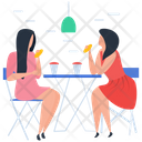 Friends Gossips Drinking Coffee Meeting Friends Icon