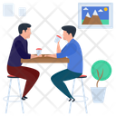 Friends Meeting Drinking Coffee Hot Beverage Icon