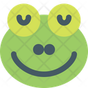 Frog Smiling Closed Eyes Icon