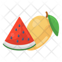 Fruits Mango And Watermelon Healthy Food Icon