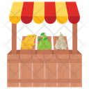 Fruits Stall Vegetables Stall Street Stall Icon