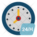 Full Service Twenty Four Hours Clock Icon