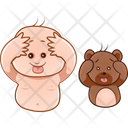Funny Child And Teddy Icon