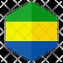 Gabon Flag Hexagon Icon