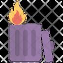 Garbage Burning Trash Can Litter Bin Icon