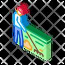 Cleaning Man Rake Icon