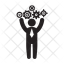 Gears Businessman Stick Figure Icon