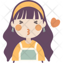 Blowing Kiss Girl Icon