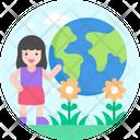 Girl Angel Globe Icon