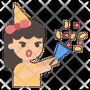 Girl Confetti Party Icon