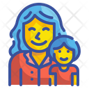 Girl And Mother Kid Baby Icon