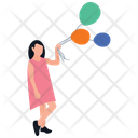 Holding Balloons Outdoor Fun Park Amusement Icon