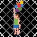 Girl Holding Balloons Icon