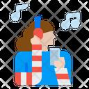 Girl Listening Music Icon