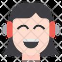 Girl Use Headphone Headset Girl Icon