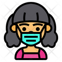 Girl Wear Medical Mask Girl Cute Icon