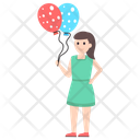 Girl With Balloon Icon
