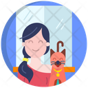 Girl With Dog Icon