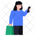 Girl With Shopping Purchase Shopping Girl Icon