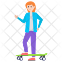 Girl With Skateboard Icon