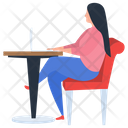 Girl Working Online Working Office Assignment Icon