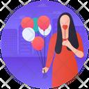 Girlfriend Valentine Day Holding Balloons Icon