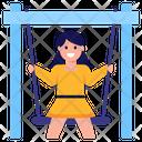 Girl Playing Girl Swinging Swing Icon