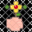 Flower Gift Hand Icon