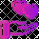 Valentine Day Hand Heart Icon