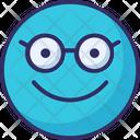 Glasses Face Emoticon Vector Icon Icon