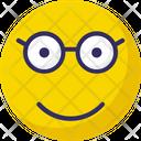 Glasses Face Nerdy Stare Emoticon Icon