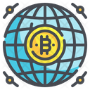 Worldwide Global Bitcoin Cryptocurrency Digital Currency Network Icon
