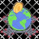 Worldwide Blockchain Global Blockchain Digital Currency Icon